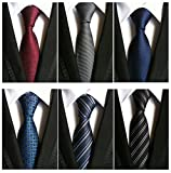 Adulove Men's Necktie Classic Silk Tie Woven Jacquard Neck Ties 6 PCS