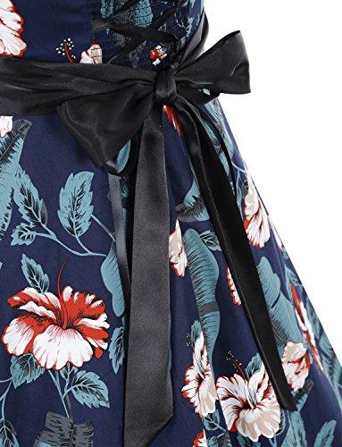 Mujer Cuello Leaves Retro Rockabilly Dressystar Fiesta Vestidos Flores Estampado Halter y Lunares Corto 60s Vintage 50s Flower zzqU6xZEw