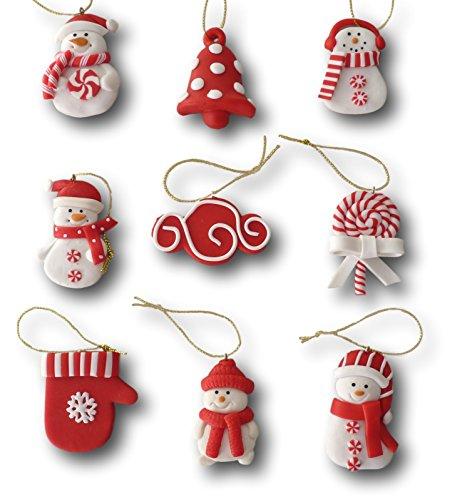 9 tlg. Set Weihnachtsbaumschmuck Christbaumschmuck Figuren Aufhänger Baumschmuck Anhänger aus Polymer Ton Pfefferkuchen oder rot-weiß Design (Design rot-weiß)