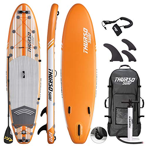 THURSO SURF Waterwalker All-Around Inflatable Stand Up Paddle Board SUP 10' x 30'' x 6'' Two Layer Deluxe Package Includes Carbon Shaft Paddle/2+1 Quick Lock Fins/Leash/Pump/Roller Backpack (WW120) (Stand Up Paddle Board 2 Board Package)