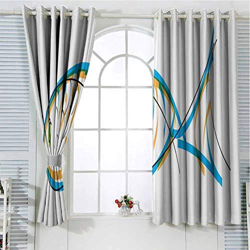 hengshu Fish Curtains for Sliding Glass Door Maritime Image Contour Drawing Aquarium Animal Vibrant Colors Cartoon Style Room Decor Blackout Shades W100 x L84 Inch Blue Orange Green (Lsu Tank Fish)