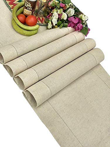 Linen Clubs - Flax Cotton Linen Looks Table Runner - Size 16x108 Natural - Hand Crafted and Hand Stitched Table Runner with Hemstitch Detailing (Table Inch 100 Runner)