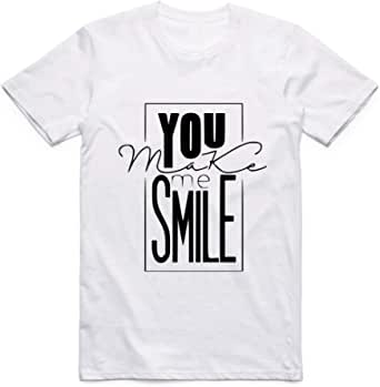 تيشيرت تجعلني أبتسم ابيض رجال - مقاس S