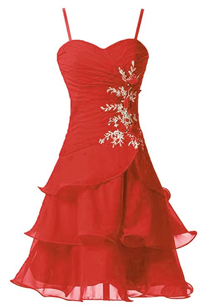 Red Victoria Prom Women's Strap A Line Short Bridesmaid Dress Prom Party Gowns Sweet Homecoming Dress