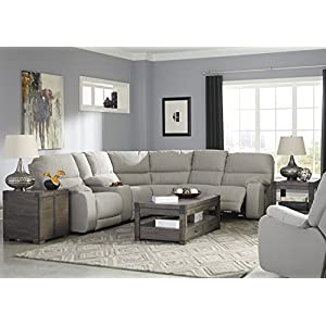 Bohannon Contemporary Putty Color Fabric Sectional Sofa and Power Rocker Recliner