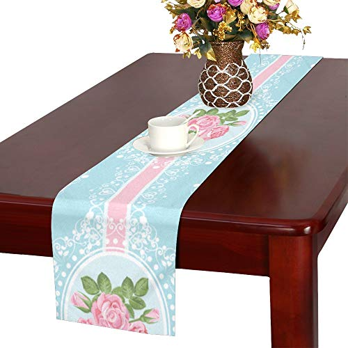 VNASKL Tape Hand-Painted Daily Cute Table Runner, Kitchen Dining Table Runner 16 X 72 Inch for Dinner Parties, Events, Decor