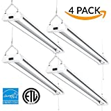 Sunco Lighting 4 PACK – ENERGY STAR, ETL – 4ft 40W LED Utility Shop Light, 4000lm 120W Equivalent, Double Integrated LED Fixture, Ceiling Light, Garage, Frosted (5000K – Daylight) …