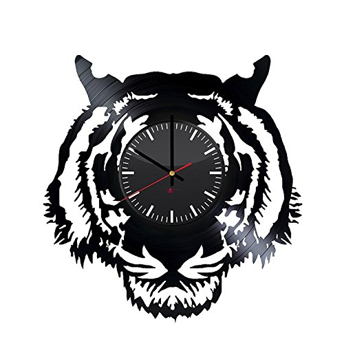 Bengal Tiger Design Vinyl Record Wall Clock - Get unique living room or bedroom wall decor - Gift ideas for boys and girls - Wild Animal Silhouette Unique Modern Art