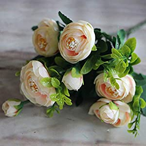 GSD2FF 6 Branches Vivid Fake Peony Flower Silk Flower Autumn Artificial Flowers Wedding Home Party Decoration,4 79
