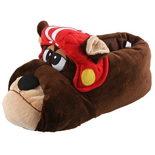 Tierhausschuhe Bulldogge Football Hund Tier Hausschuhe Pantoffel SchlappenKuscheltier PlüschHerren Braun 41-46, TH-BR Braun