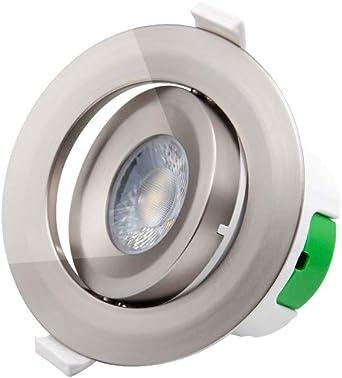 Lampara Plafon Foco Downlight de LED Empotrar Giratorio para Techo Níquel Plástico Luz Fria 5000K 9W Agujero del Techo Diámetro 85-90MM AC100~240V Pack de 1 de Enuotek: Amazon.es: Iluminación