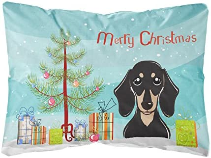 Caroline's Treasures BB1587PW1216 Christmas Tree and Smooth Black and Tan Dachshund Fabric Decorative Pillow