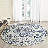 Safavieh Dip Dye Collection DDY719P Handmade Geometric Medallion Watercolor Ivory and Navy Wool Round Area Rug (7′ Diameter) Review