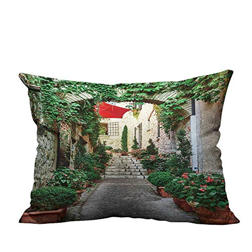 YouXianHome Decorative Throw Pillow Case Narrow Street with Flowers in The Old Town in France. Ideal Decoration(Double-Sided Printing) 20x35.5 inch ()