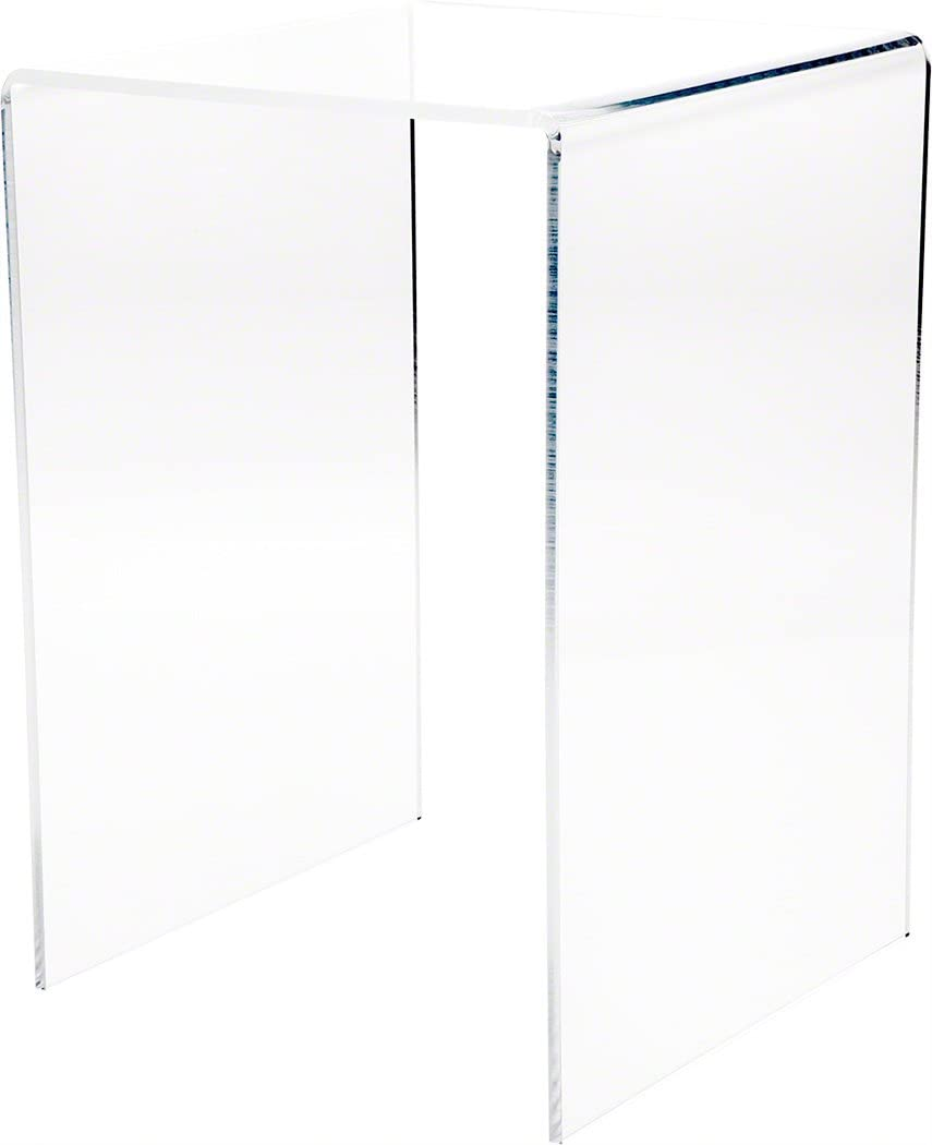 """Plymor Clear Acrylic Vertical Square Display Riser, 13.5"""" H x 9"""" W x 9"""" D (1/4"""" Thick)"""