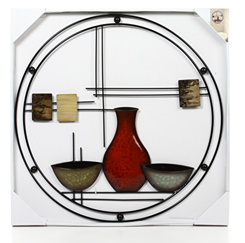Hosley 24'' Diameter Abstract Vases Metal Circle Wall Art. Ideal Gift for Weddings, Special Occasion, Home Decor, Party, Spa, Votive/LED Gardens, Home Office O6 by Hosley (Image #3)