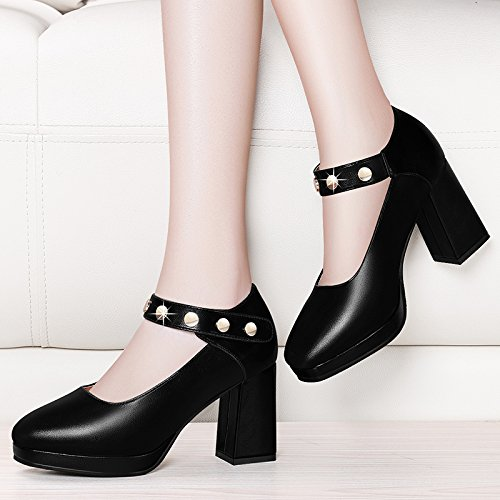 Platform Fashion 8Cm Rough High New Single Mouth Shoes Spring Shoe Heeled Head Round Style Word Waterproof KPHY Shallow Buckle Heel Black qZXwY1a
