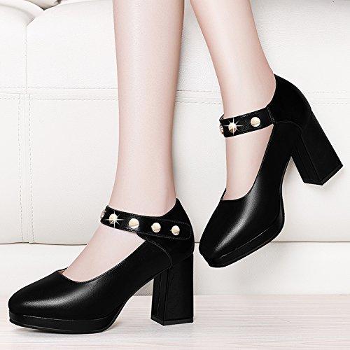 KPHY neuen Design runde Spitze 8 8 8 cm hoch Sandalette Schuhe mit Schnalle für flache Mund wasserdicht für raue Heel-Schuhe f9b2c5