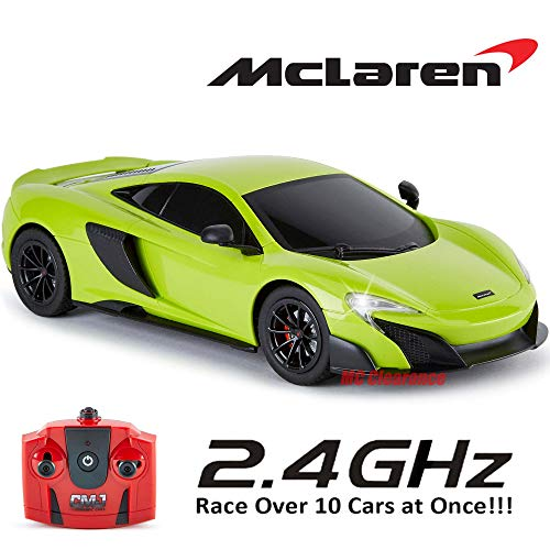 McLaren 675LT Car with Working Lights in Green, Electric Radio Controlled Road RC Cars Boys Girls Toys Official License 1:18 Model 2.4Ghz Race Over 10 Cars at Once! Green ()