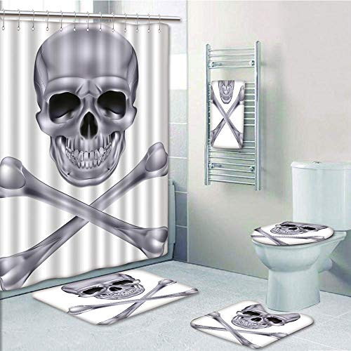 Bathroom 5 Piece Set shower curtain 3d print Multi Style,Silver,Vivid Skull and Crossbones Dangerous Scary Dead Skeleton Evil Face Halloween Theme Decorative,Dimgray,Bath Mat,Bathroom Carpet -