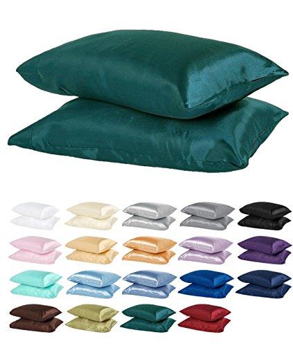 DreamHome Satin Standard/Queen Pillowcase, Teal, Pair