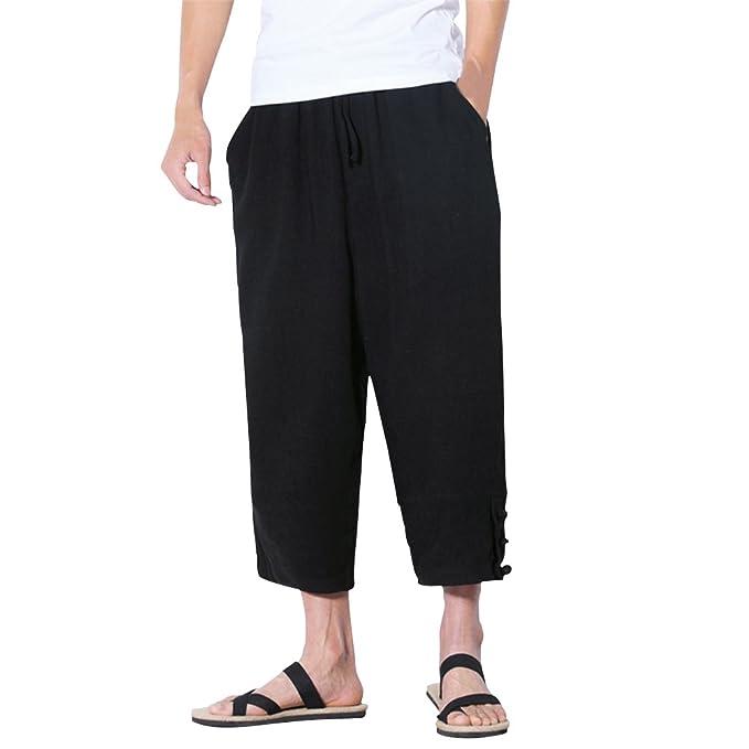 Zhuhaitf Moda Loose Straight pantalones harén Hombres Transpirable Lino Pants 3/4 Length Bottoms para