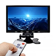 Camecho 9 Inch LCD Monitor HD 1024x768 TFT Color Screen, 2 Video Input / HDMI / VGA, Support Car Backup, mini PC Display, CCTV, Home Security, with Remote Control
