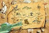 AOFOTO 7x5ft Polyester Vintage Old Travel Treasure Map Backdrop Navigation Sea Adventure Drift Bottle Seashells Beach Photography Background Maritime Expedition Photo Studio Props Video Drape