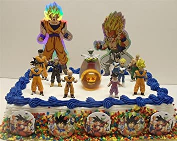 Dragon Ball Z 19 Piece Birthday Cake Topper Set Featuring 10 Dragon