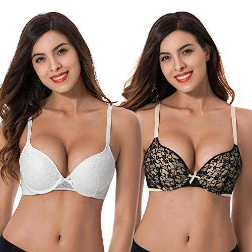 Curve Muse Womens Plus Size Perfect Shape Add 1 Cup Push Up Underwire Lace Bras-2PK-BLACK,WHITE-46DD