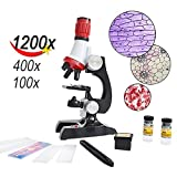 EWLAN Student Beginner Microscope Kids Science Kits With LED,100X/400X/1200X Magnification,Includes Accessory Set And Box
