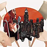 Dragonhome Round Premium Table Cloth Jazz Singer on New York Roof Cityscape Urban Music Popular Town Illustration Scarlet Perfect for Indoor, Outdoor, 55 INCH Round