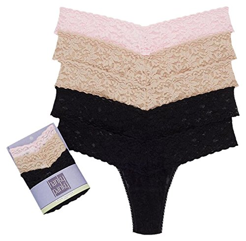 Hanky Panky Women's maternity Signature Lace Low Rise Thong 5 Basics Pack, Ongoing, One (Signature Womens Thongs)