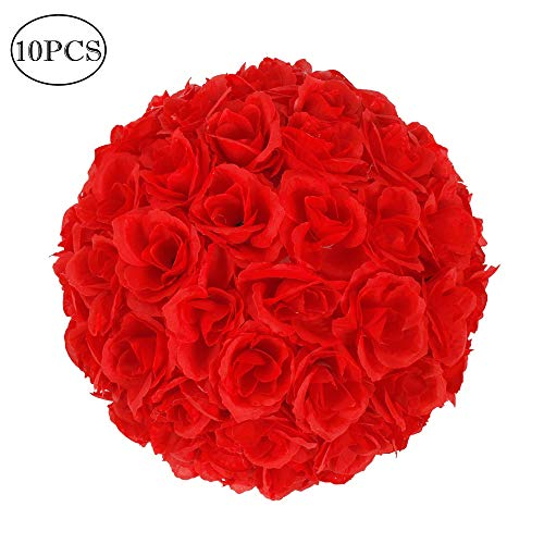 Amailtom 10 Inch Artificial Satin Flower Ball Romatic Wedding Flower Balls Kissing Balls Bouquet for Bridal Wedding Party Ceremony Centerpieces Decoration(10 Pack,Red) ()