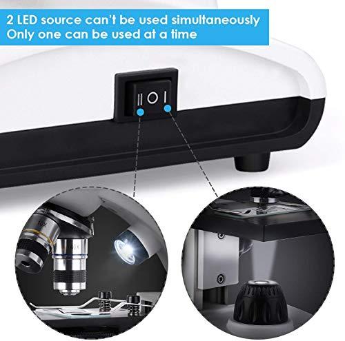 TELMU Microscope 40X-1000X Dual Cordless LED Illumination Lab Compound Monocular Microscopes with Optical Glass Lenses & 10 Sliders