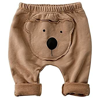 SYCLZ Baby Boys Girls Pants Cartoon Animal Pattern Casual Harem Pants Spring Autumn 3M-24M - Brown - 3-6 Months