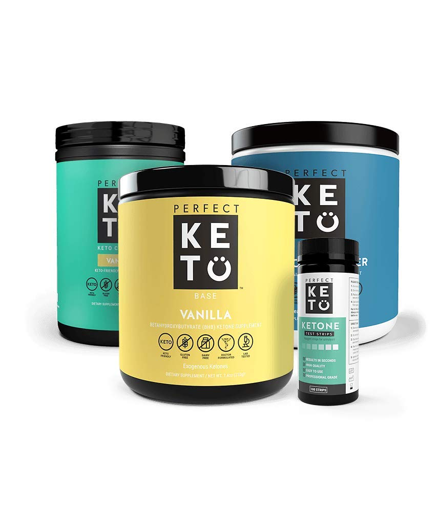 The Perfect Keto Starter Bundle for Ketogenic Diet   Best to Burn Fat and Support Energy   Includes Collagen, MCT Oil, Exogenous Ketone Base & Testing Strips (Vanilla)