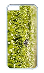 MOKSHOP Adorable grass sunrise butterfly Hard Case Protective Shell Cell Phone Cover For Apple Iphone 6 Plus (5.5 Inch) - PC White