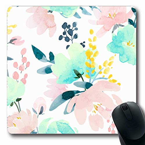 (Ahawoso Mousepads Summer Pink Simple Watercolor Floral Pattern Abstract Flower Retro Nature Yellow Peony Light Leaf Oblong Shape 7.9 x 9.5 Inches Non-Slip Gaming Mouse Pad Rubber Oblong Mat)