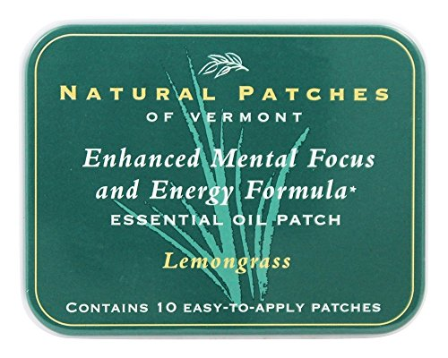 Natural Patches of Vermont - Enhanced Mental Focus & Energy Formula Essential Oil Body Patches Lemongrass - 10 Patch(ES) Formerly Naturopatch ()