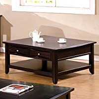 Furniture of America CM4265DK-SQ Baldwin Espresso Square Cocktail Table Coffee