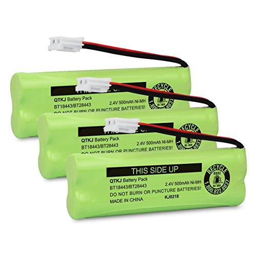 - QTKJ BT18443 BT28443 Cordless Phone Battery for VTech LS-6115 LS-6117 LS-6125 LS6126 LS6225 LS6205 LS6217 LS-6205 LS-6215 89133700 Phone Handsets (3-Pack)