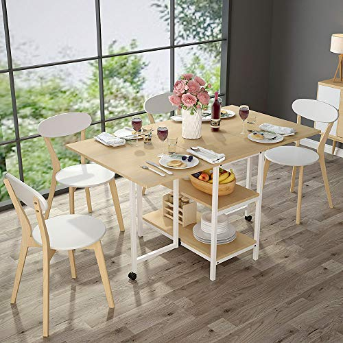 Folding Dining Table, Tribesigns Expandable Dining Table with Double Drop Leaf, Extra 2-Tier Storage Shelf, 2 Lockable Casters for Home Kitchen Use, Chairs Not Included. (Light Walnut)