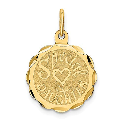 14k Yellow Gold Special Daughter Pendant Charm Necklace Person Engravable Disc Round Fine Jewelry Gifts For Women For Her