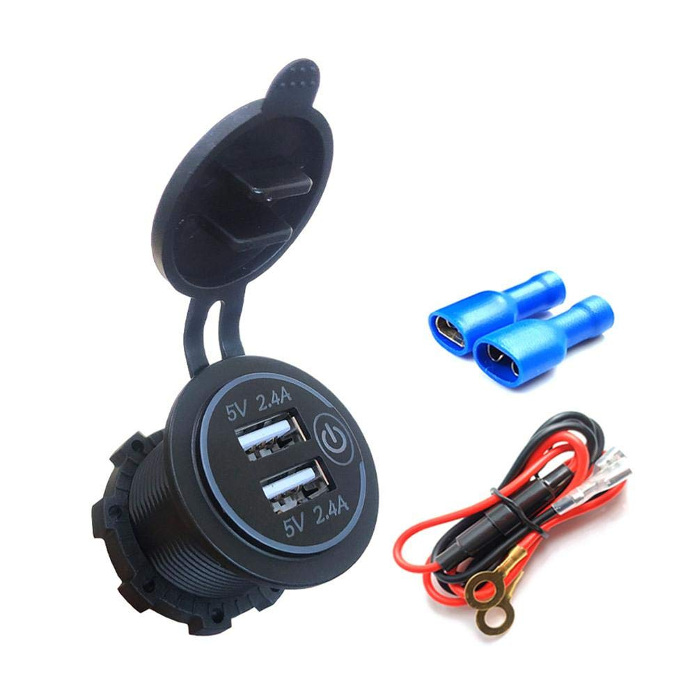 Eilane Dual USB Charger Socket Power Outlet 2.4A & 2.4A(4.8A) for Car Boat Marine RV Mobile with Wire Fuse DIY Kit Decent Frugal Comfortable by Eilane
