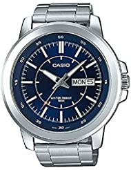Casio MTP-X100D-2EV Mens Stainless Steel Watch, Day/Date (Large) Blue Dial