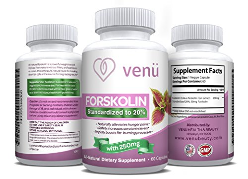 Venu Beauty All Natural Forskolin – 60 Veggie Capsules with Pure Forskolin Extract –Dietary Supplement for Fast Weight Loss, Boosted Metabolism & Healthy Blood Pressure