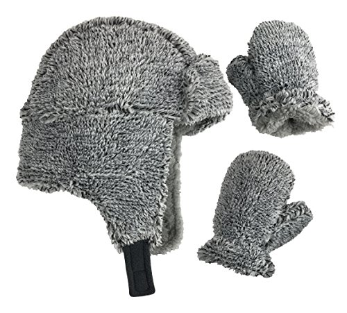 Toddler Hat Gloves - N'Ice Caps Little Boys and Baby Buffalo Plaid Fleece Trooper Hat Mitten Set (Fuzzy Grey, 2-3 Years)
