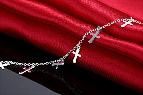 Summens Femmes Bracelet de la chaîne de cheville Anklets Cross Hypoallergénique de Bijoux en Argent