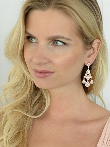 Mariell Gatsby Style Vintage 14KT Rose Gold Plated Wedding or Evening Cubic Zirconia Chandelier Earrings